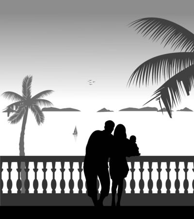 paternity: Family on vacation at sea under the palm trees, one in the series of similar images silhouette