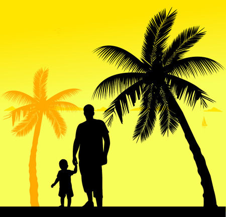 one child: Father walking with his child on the beach, one in the series of similar images silhouette