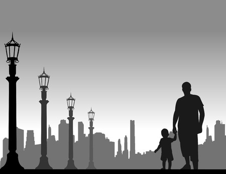 paternity: Father walking with his child on the street, one in the series of similar images silhouette Illustration