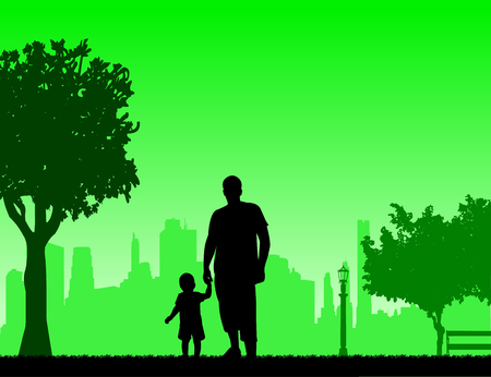 one child: Father walking with his child in park, one in the series of similar images silhouette
