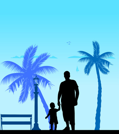 Father walking with his child on the beach, one in the series of similar images silhouette