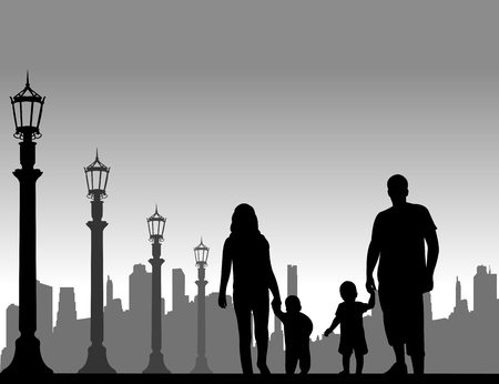 paternity: Family walking with their children on the street, one in the series of similar images silhouette Illustration