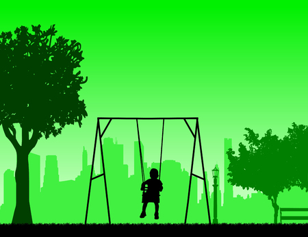 A child on a swing in park, one in the series of similar images silhouette Illustration