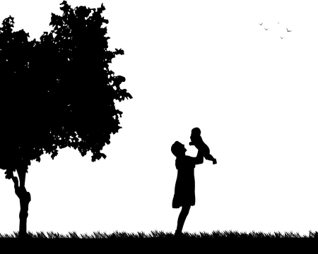 one child: Mother plays with her child in the park, one in the series of similar images silhouette