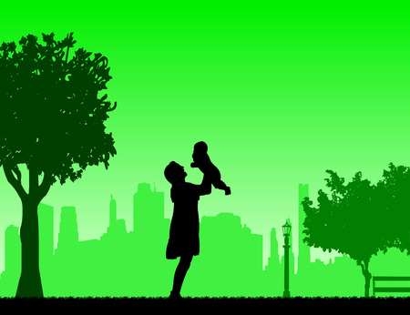 Mother plays with her child in the park, one in the series of similar images silhouette