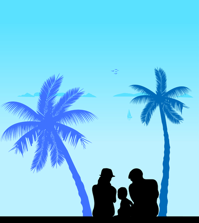 paternity: Family on vacation at sea sitting under the palm trees silhouette, one in the series of similar images silhouette