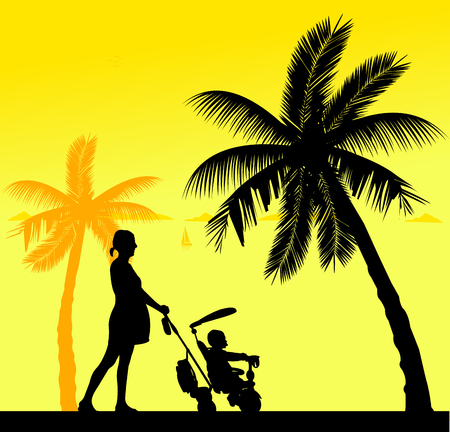 abdomen women: Pregnant woman walking with baby on a tricycle on the beach, one in the series of similar images silhouette Illustration