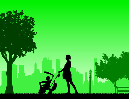 Pregnant woman walking with baby on a tricycle in park, one in the series of similar images silhouette Illustration