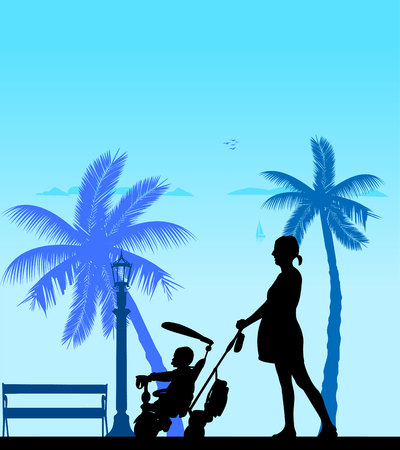 Pregnant woman walking with baby on a tricycle on the beach, one in the series of similar images silhouette Illustration