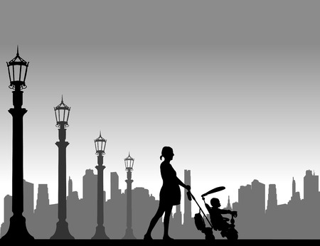 awaiting: Pregnant woman walking with baby on a tricycle on the street, one in the series of similar images silhouette