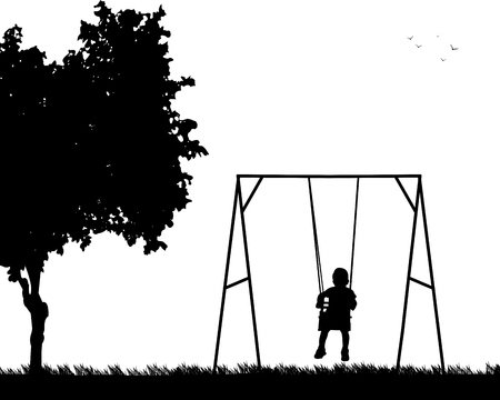 one child: A child on a swing in park, one in the series of similar images silhouette Illustration