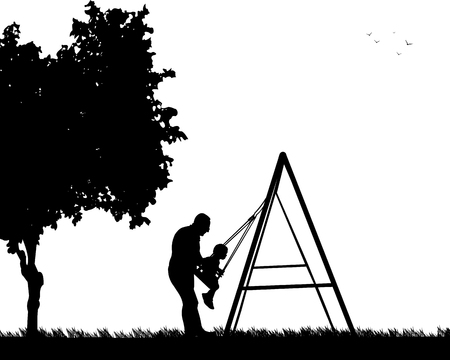 swinging: Grandfather swinging grandson on a swing in the park, one in the series of similar images silhouette Illustration