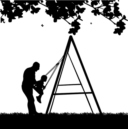 grandad: Grandfather swinging grandson on a swing in the park, one in the series of similar images silhouette Illustration