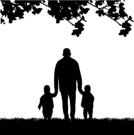 grandson: Grandfather walking with grandchildren in the park, one in the series of similar images silhouette