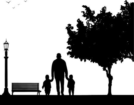 Grand-père marche avec petits-enfants dans le parc, dans une série d'images similaires silhouette