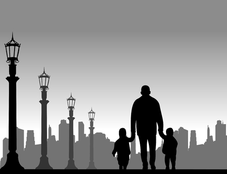 grandchildren: Grandfather walking with grandchildren on the street, one in the series of similar images silhouette
