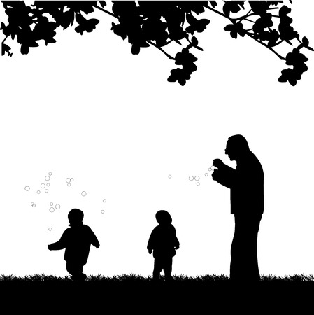 Grandfather playing with grandchildren, one in the series of similar images silhouette