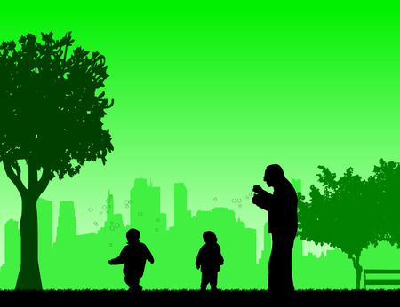 grandchildren: Grandfather playing with grandchildren, one in the series of similar images silhouette