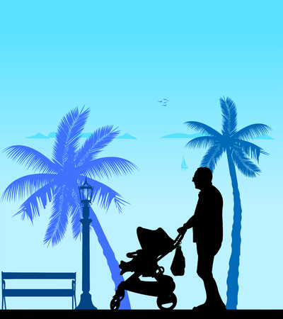 Grandfather walking with her grandson in stroller on the beach, one in the series of similar images silhouette