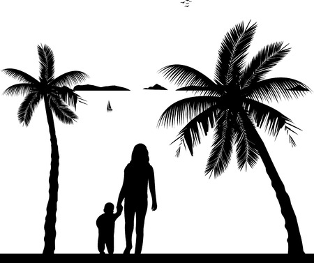 one child: Mother walking with her child on the beach, one in the series of similar images silhouette