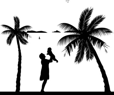 Mother plays with her child on the beach, one in the series of similar images silhouette Illustration