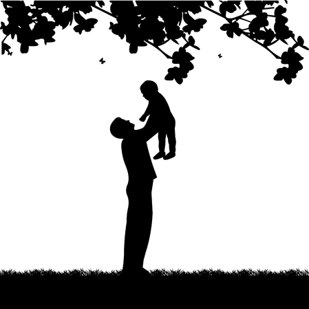 Father plays with his child in the park, one in the series of similar images silhouette Çizim