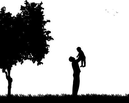 one child: Father plays with his child in the park, one in the series of similar images silhouette Illustration