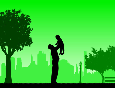 paternity: Father plays with his child in the park, one in the series of similar images silhouette Illustration