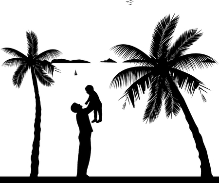 one child: Father plays with her child on the beach, one in the series of similar images silhouette