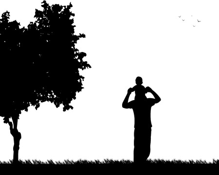 father and son: Father carrying a child on his shoulders in the park, one in the series of similar images silhouette