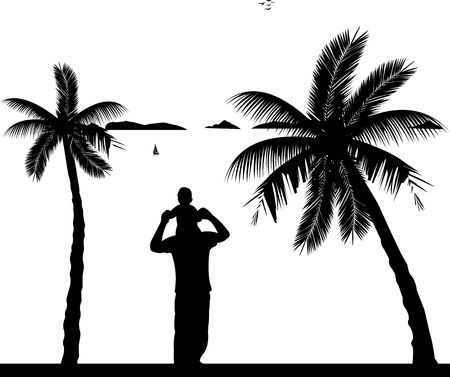 Father carrying a child on his shoulders on the beach, one in the series of similar images silhouette Illustration