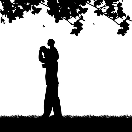 one child: Father carrying a child on his shoulders in the park, one in the series of similar images silhouette