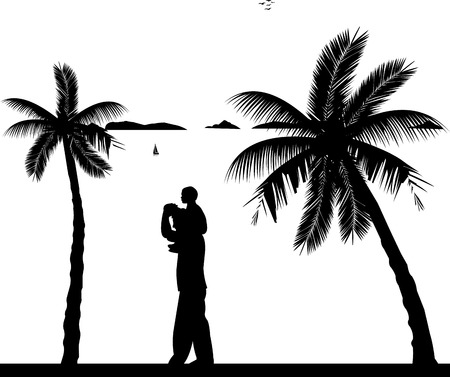 one child: Father carrying a child on his shoulders on the beach, one in the series of similar images silhouette Illustration