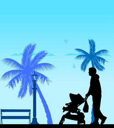 paternity: Father walking with his baby in a stroller on the beach, one in the series of similar images silhouette