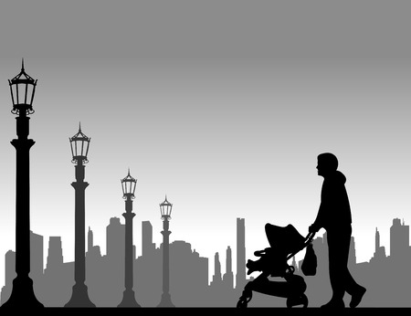 Father walking with his baby in a stroller on the street, one in the series of similar images silhouette