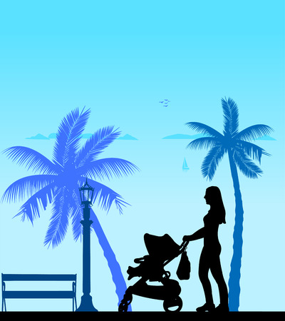 Mother walking with her baby in a stroller on the beach, one in the series of similar images silhouette