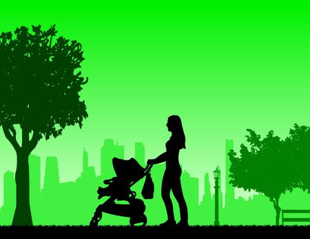 mammy: Mother walking with her baby in a stroller in park, one in the series of similar images silhouette
