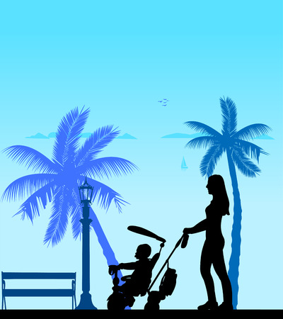 Mother walking with her baby on a tricycle on the beach, one in the series of similar images silhouette Illustration