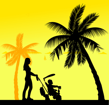 mammy: Mother walking with her baby in a stroller on the beach, one in the series of similar images silhouette