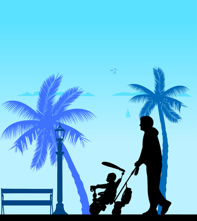 Father walking with his baby on a tricycle on the beach, one in the series of similar images silhouette
