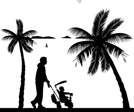 Father walking with his baby on a tricycle on the beach, one in the series of similar images silhouette Ilustração Vetorial