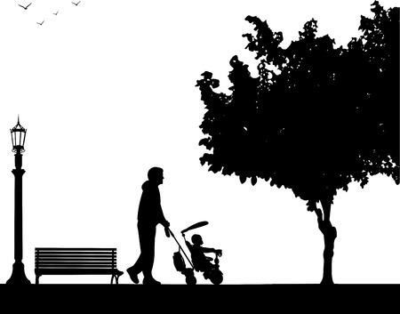 alegria: Padre que recorre con su bebé en un triciclo en el parque, uno en la serie de imágenes similares silueta Vectores