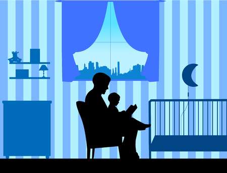 Father reading his son a bedtime story in the room, one in the series of similar images silhouette
