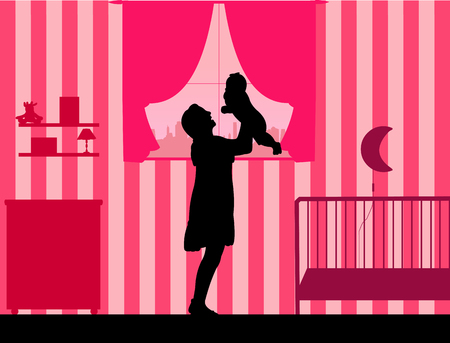 one child: Mother plays with her child in the room for girls, one in the series of similar images silhouette