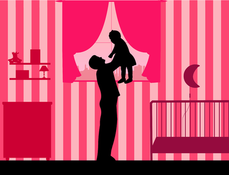 one child: Father plays with her child in the room for girls, one in the series of similar images silhouette