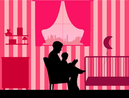 Father reading his daughter a bedtime story in the room, one in the series of similar images silhouette