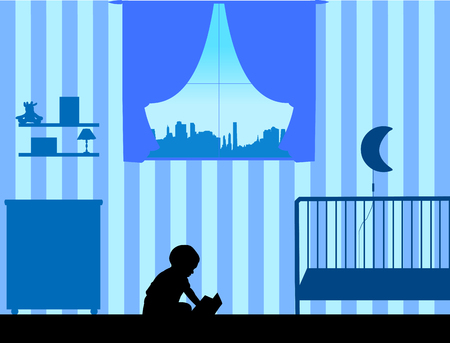 one child: Child reading a book in the room sitting on the floor, one in the series of similar images silhouette Illustration