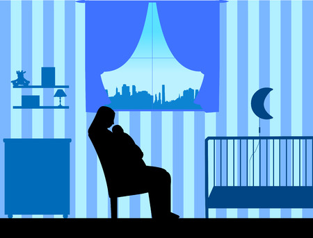 Mother holding her baby in her arms in the blue room, one in the series of similar images silhouette Illustration