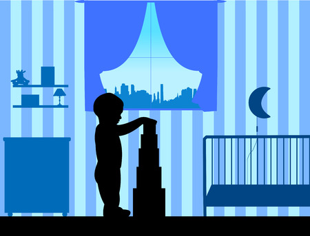 Boy plays with cubes in the room, one in the series of similar images silhouette Illustration