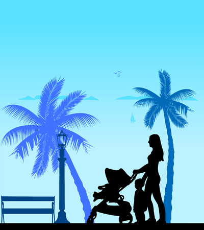 perambulator: Mother walking with her children on the beach, one in the series of similar images silhouette